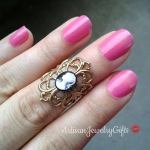 Victorian Lady Cameo Ring Filigree Ring